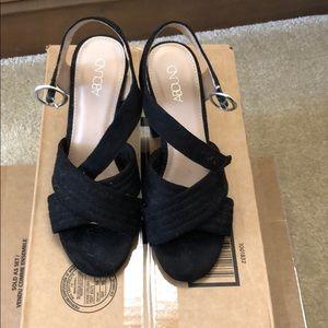 Abound Black Block Heel Sandal 6M
